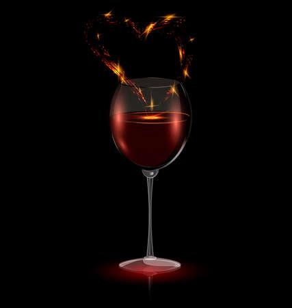 fondo oscuro y la copa de vino con el corazón abstracto Ilustración de vector