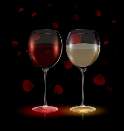 rice wine: red flying petals and couple glasses of wine Illustration