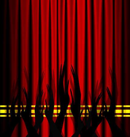 cortina de teatro rojo y un aplauso abstracta