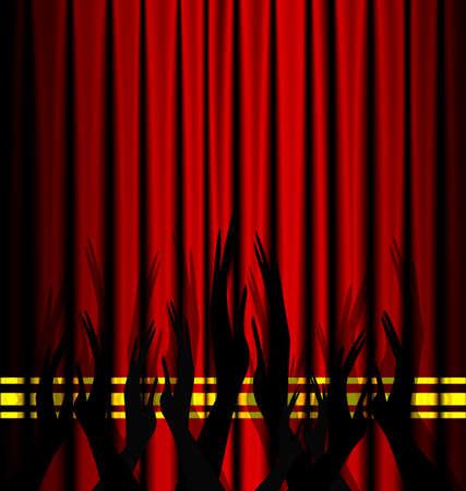red theater curtain: red theater curtain and an abstract applause Illustration