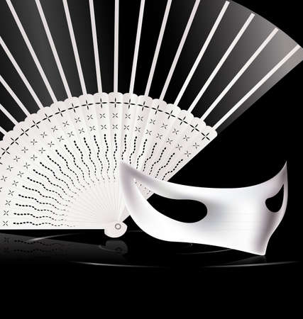 mummers: dark background and carnival white halfmask with fan