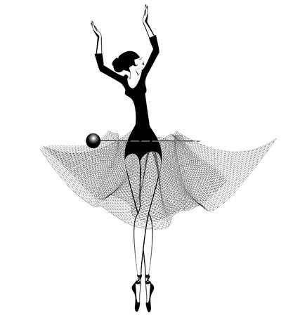 white background and dancing black ballet girl Çizim