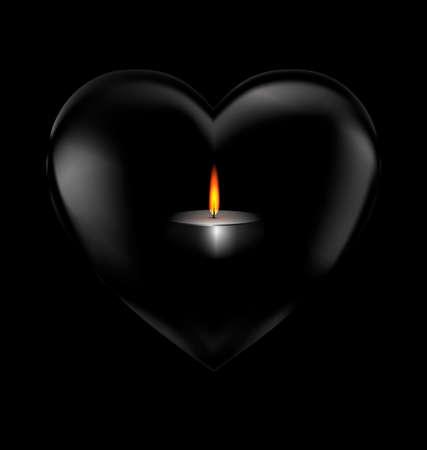 bougie coeur: coeur noir avec la bougie allumée à l'intérieur