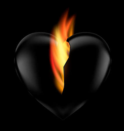 burning: black background and dark heart with flame inside Illustration