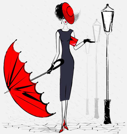 fashion girl: urban landscape, rain and lady with umbrella