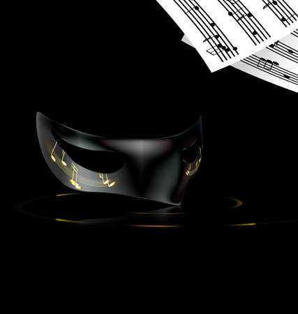 dramatics: dark background and carnival black half mask with note