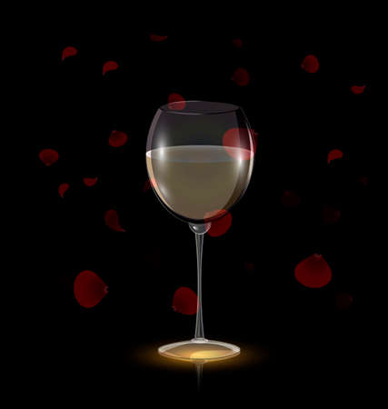 red wine glass: dark background and the glass of wine with red petals