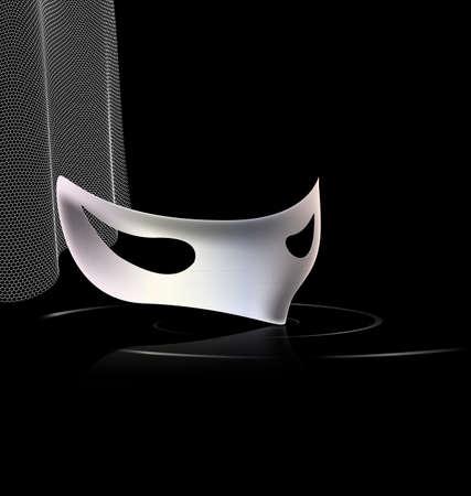dramatics: dark background and carnival white halfmask with veil Illustration