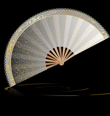 enigma: dark background and large white golden fan