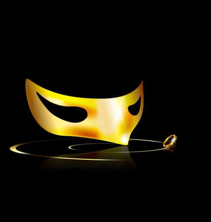 dramatics: dark background and carnival golden half mask