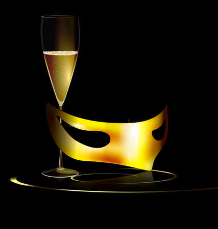 mummers: carnival golden half mask and glass of wine