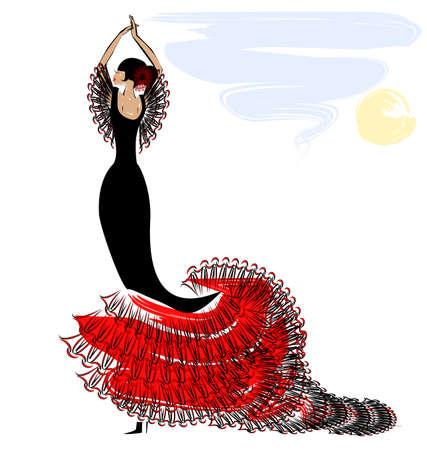 bailarina de flamenco: resumen cielo y el baile negro-rojo chica española Vectores