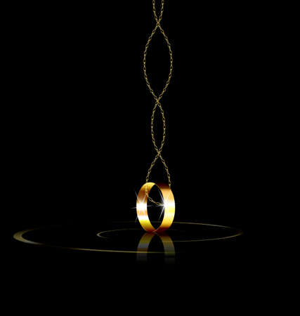 periphery: dark background and the single golden ring with chain Illustration