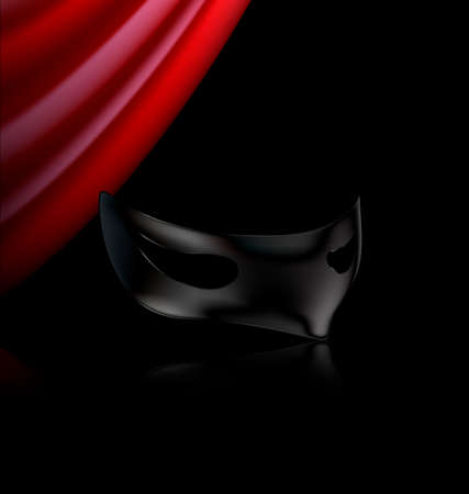 mummers: red drape and carnival black half mask