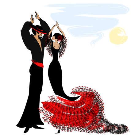 bailando flamenco: resumen cielo y la pareja de bailarines españoles