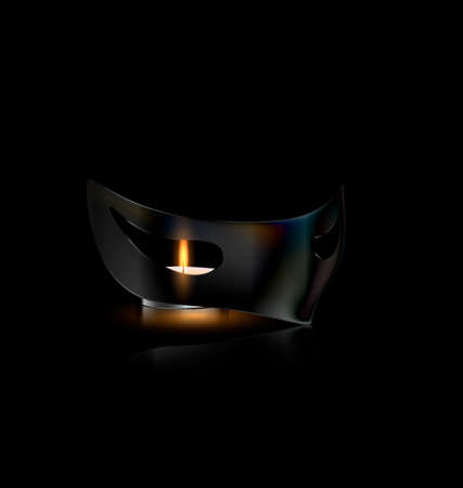 dramatics: carnival half mask with small burning candle