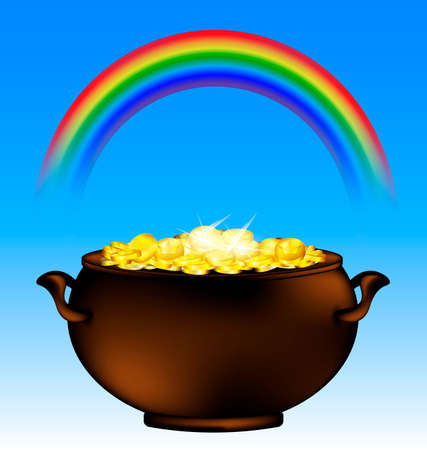 stew pot: sky background and the dark pot of gold