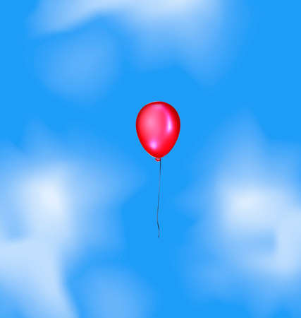 ether: blue sky, clouds and flying red balloon Illustration