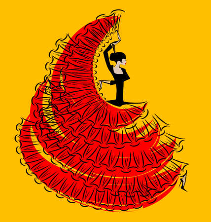 flamenco: abstract image of dancing black-red Spanish girl