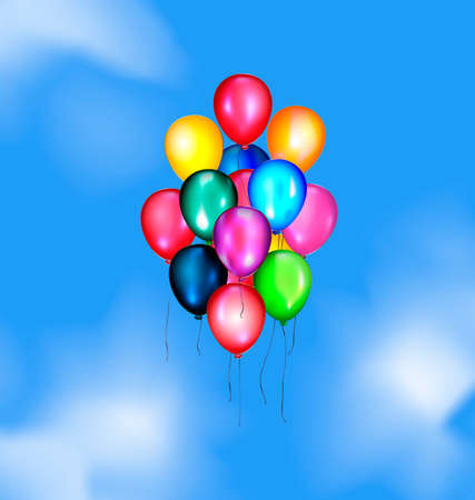 pied: blue sky, clouds and multicolored flying balloons