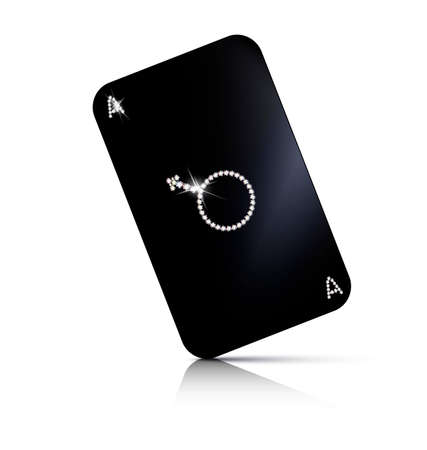 adamant: white background and large jewel black ace