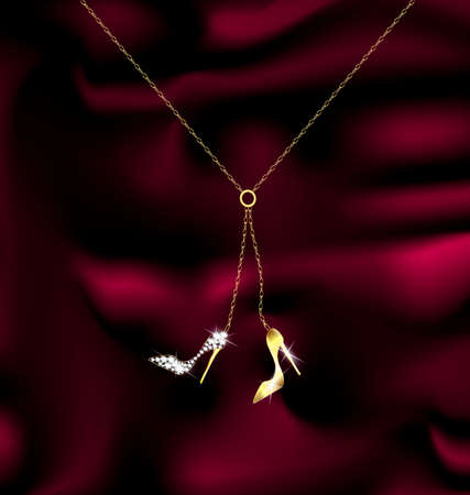 elegancy: dark background and a jewelry cain with pendant shoes Illustration