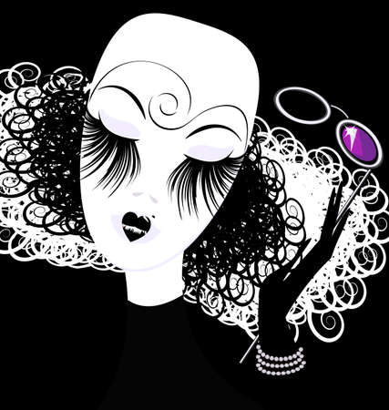 mummers: abstract black white womans head with eyeglasses Illustration