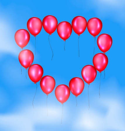 ether: blue sky, clouds and flying red balloon heart