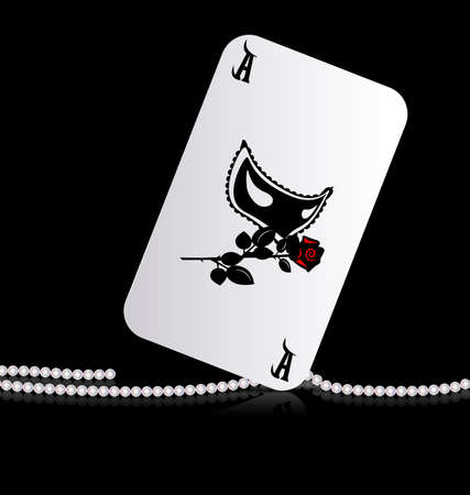 distinguished: dark background and large ace with image of mask and rose