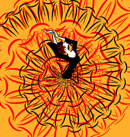 flamenco dancer: abstract image of dancing black-red Spanish girl