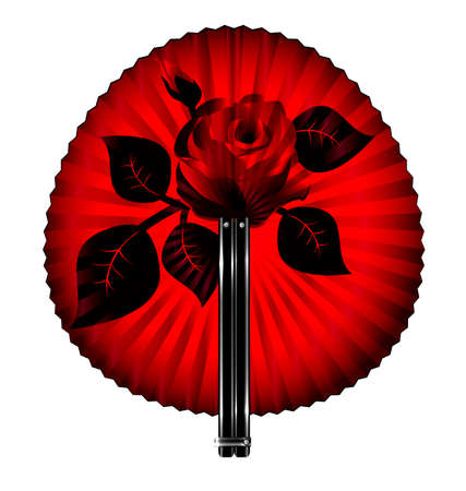 portative: white background and the rounde black-red fan