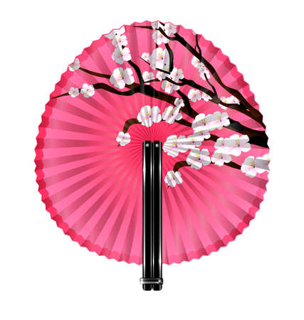 old times: white background and the rounde pink fan