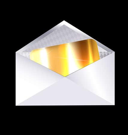 envelopes: dark background and the envelope with golden card inside Illustration