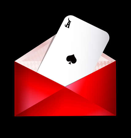 ace of spades: dark background and the red envelope with ace of spades