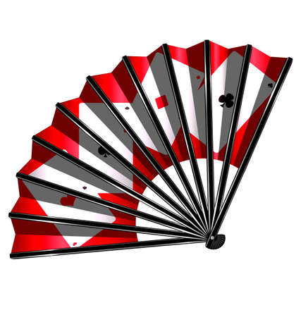 red fan: white background and the black red fan with image of cards Illustration