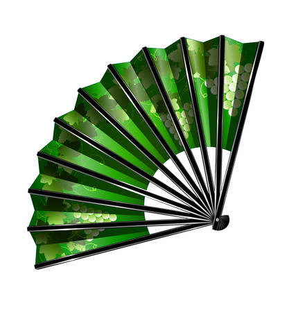 white grape: white background and the green fan with grape Illustration