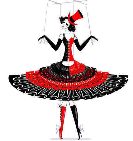 tomfool: black-red and white fantasy of hand puppet Harlequin