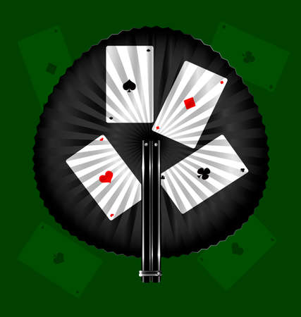 rotund: green background and the black fan with image of cards