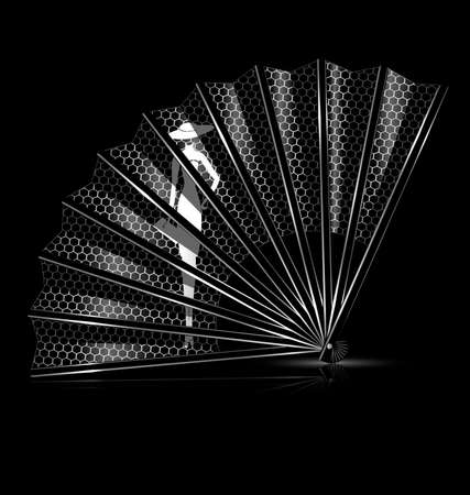 portative: dark background and the lace fan with image of lady