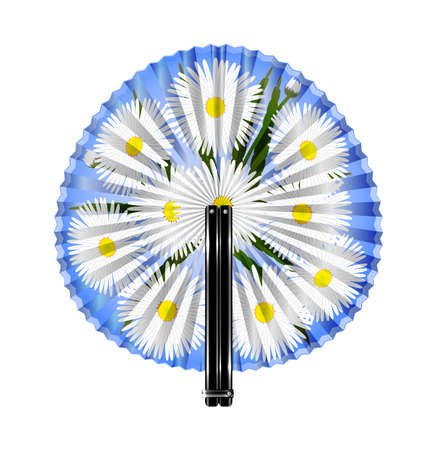rotund: white background and the rounde blue fan