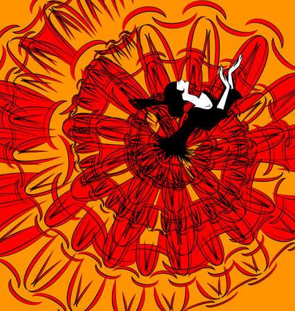 bailando flamenco: imagen abstracta de una chica española bailando negro-rojo Vectores