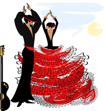 flamenco: abstract sky and couple of Spanish dancers