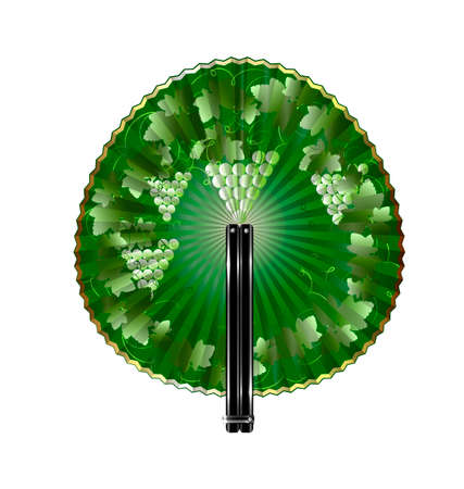 interweaving: white background and the rounde green fan