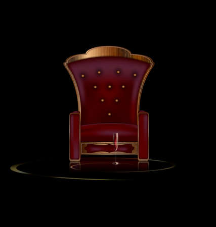 piece of furniture: the large armchair in the dark room with glass of wine