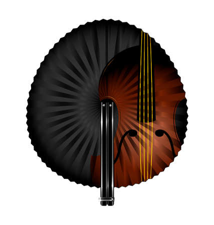 old times: dark background and the white fan with abstract string instrument Illustration