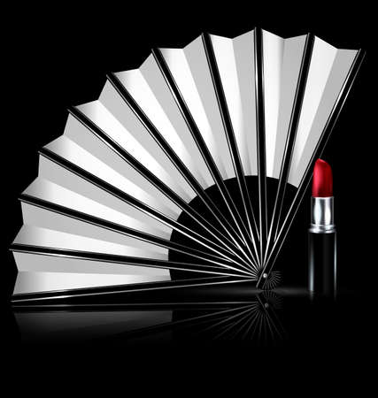 womanish: dark background and the white fan with red lipstick Illustration