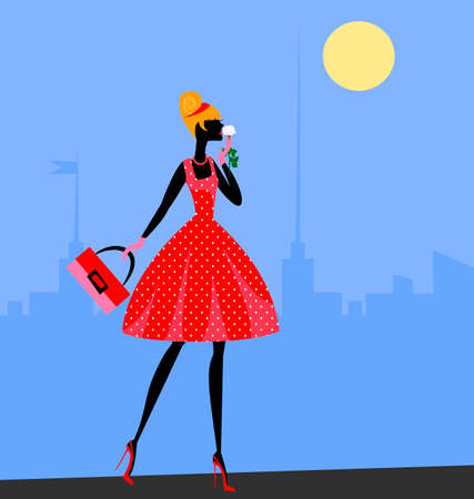 female beauty: walking girl in red in the abstract sity