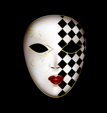 mummers: dark background and the large white-golden carnival mask Illustration