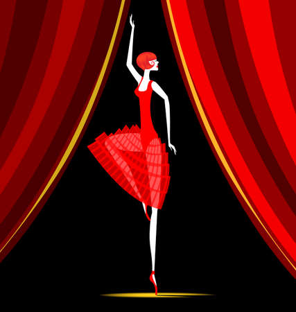 red curtain and dancing red ballet dancer Çizim