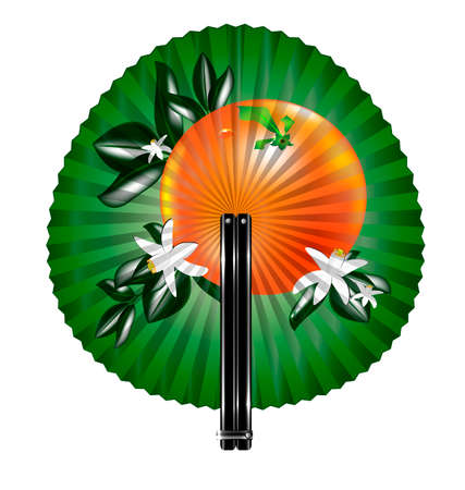 rotund: white background and the round green fan with orange Illustration
